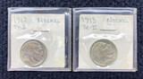 (2) 1913  Buffalo Nickels