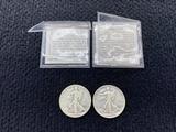 (2) 1943 Walking Liberty Half Dollars