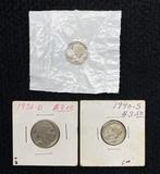 (2) Mercury Dimes 1944 / 1940 S & (1) 1936 D Buffalo Nickel