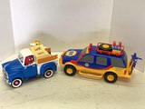 2 Plastic Trucks, M&m's And Napa Suv With Motorcycle