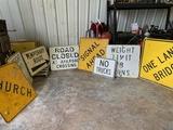 8-road Signs , Bridge, Church, No Trucks