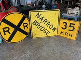 3-signs, Railroad Sign, Narrow Bridge, 35 Mph