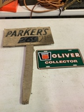Parker Seed Variety Marker, Oliver Collector License Plate Cover