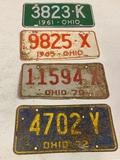 Ohio License Plates 1961,1965,1970,1972
