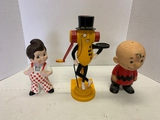 Plastic Figures Of Charlie Brown, Mr. Peanut And Big Boy.