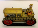 Marx Metal Wind Up Caterpillar Tractor With Driver