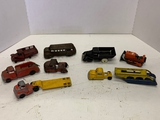 Lot Of Seven Metal Trucks, Bus, Tractor And