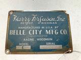 Harry Ferguson Belle City Mfg Serial Tag