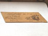 Crawford Antique Mach. Assn. Wooden Sign