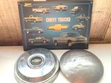 Chevy Hub Caps & Chevrolet Truck Litho Sign