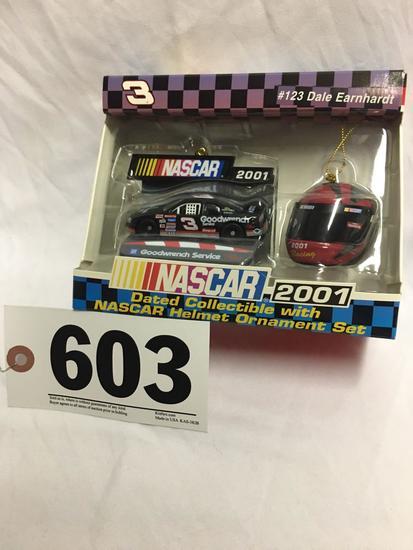 2001 NASCAR Dale Earnhardt dated collectible with NASCAR helmet ornament set