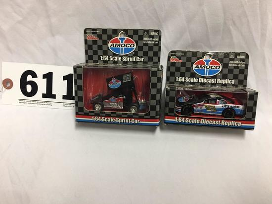 TLot of 2- Amoco Die-cast replica Sprint car and NASCAR; 1:64 scale