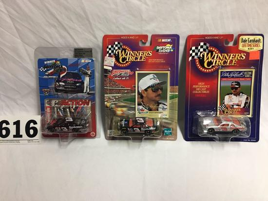 3- 1:64 inch scale Dale Earnhardt Sr. collector cars with cards