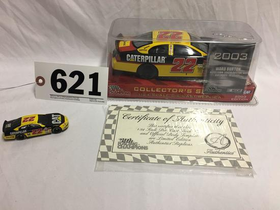2003 Ward Burton #22 1:24 scale diecast replica with C.O.A and collectible 1:64 scale car