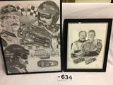 Set of 2 Dale Earnhardt and Dale Earnhardt Junior sketch prints