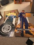 Carious cardboard cut outs of NASCAR drivers