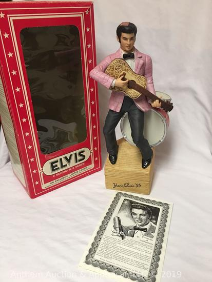 "RARE!! American porcelain by McCormick Elvis Presley Limited Edition decanter ""Yours, Elvis '55"""