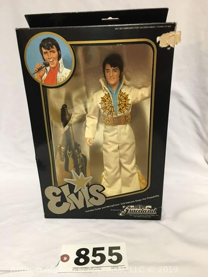 Eugene Doll Co. Elvis Presley Graceland with white jumpsuit, guitar, microphone and stage like