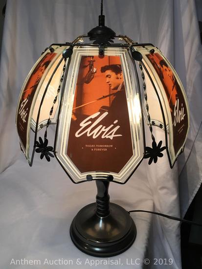 "Elvis Presley ""Today, Tomorrow, and Forever"" glass panels plug-in lamp. Working condition!"