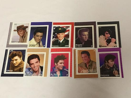 Elvis Presley 10 stamp international mint collect
