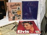 Elvis Presley book lot- Elvis commemorative edition, Life magazine,album, & Star newspaper from 1987
