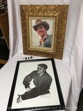 Lot of 2- Elvis Presley unique framed Photo and one framed sketch print