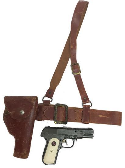 Vintage Hubley Green Army Colt 45 Die Cast Toy Cap Gun