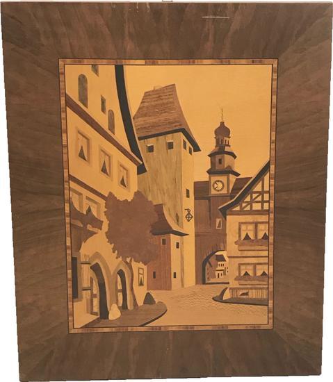 Vintage Marquetry Wood Inlaid Art piece Euro Street Scene