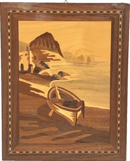 Vintage Marquetry Wood Inlay Art with boat 10 x 12