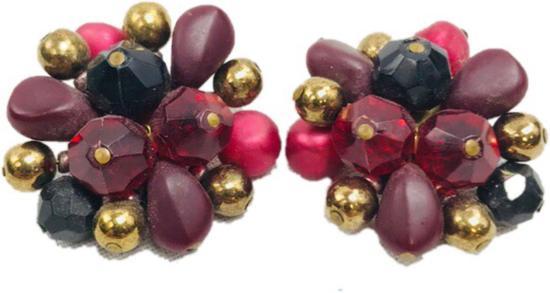 Vintage Bead Cluster Earrings Marked West Germany