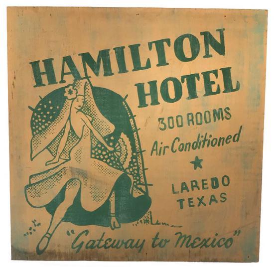 Painted Plywood Sign For The Hamilton Hotel Laredo Texas