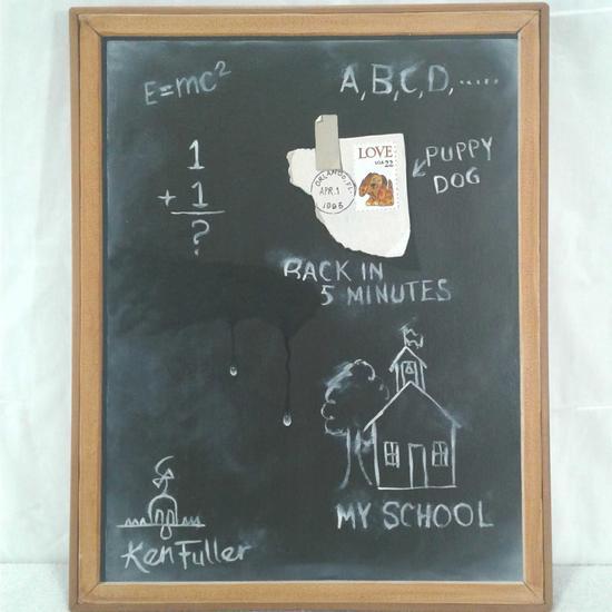 Ken Fuller Chalkboard Painting (Signed front and back)