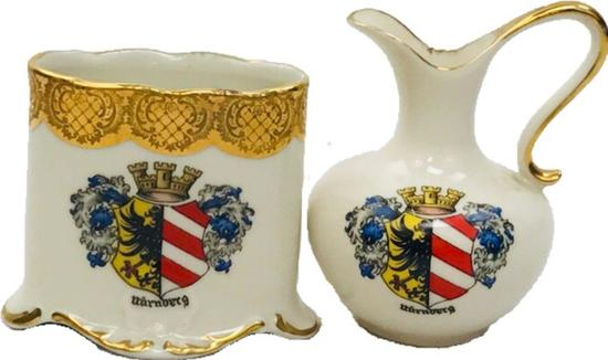 Vintage City of Nuremberg 2 Souvenir Pottery lot marked RW Bavaria w/Minor Arms