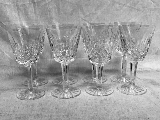 Vintage Waterford Lismore Crystal Stemware, 8 Claret Glasses