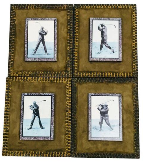 Set of Four Golf Pictures, Mounted on Suede