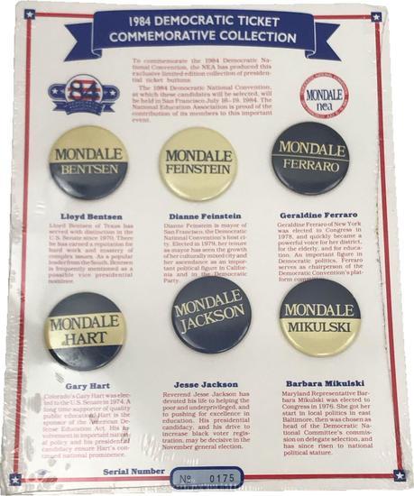Rare 1984 Democratic Ticket Commemorative Collection Prospective Vice President Buttons