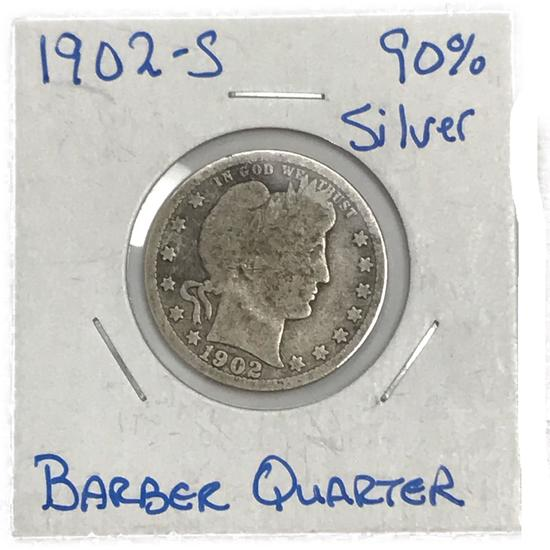 1902-S Barber Quarter Silver Twenty-Five Cent Coin