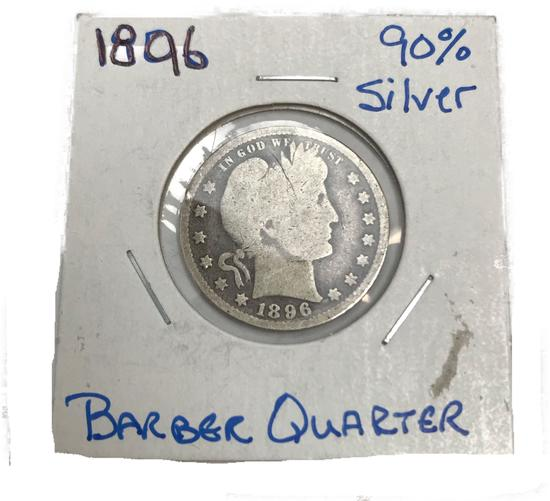 1896 Barber Quarter Silver 25 cent coin