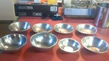 8 misc small stainless steel bowls
