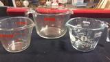 3 Pyrex measuring cups
