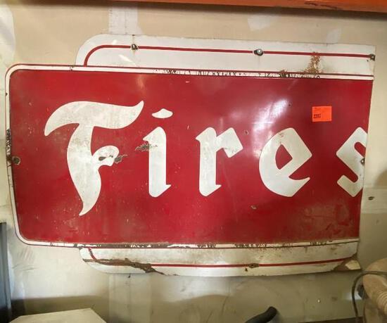 Porcelain Firestone Sign Cut