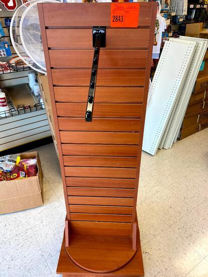 2 Sided spinning slat board display stand w/ 2 hangers