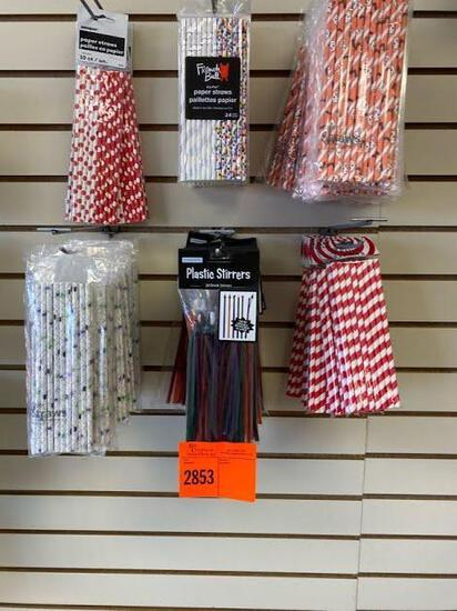 6 Red Dot Paper Straws 10 Ct 18 HW Plastic Stir Sticks 18 Ghost/Bats paper straws 17 Spider paper
