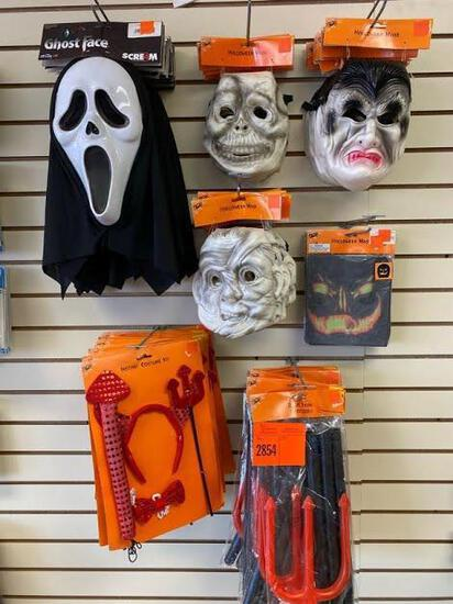 14 Scream Ghost Mask 21 Halloween Devil Fork Accessory 29 Halloween Rubber Mask 8 Spooky Stocking