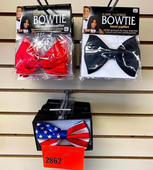 5 Bowtie W/ Strap- Patriotic 11 Bowtie Black W/Elastic 12 Clip On Bow Tie Red