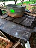 Tub, Saw Horses, Metal, Trash Can & Panel Pieces