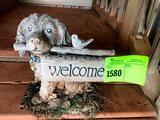 Puppy Welcome Statue, Kitten & Wind Vane on Single Tree