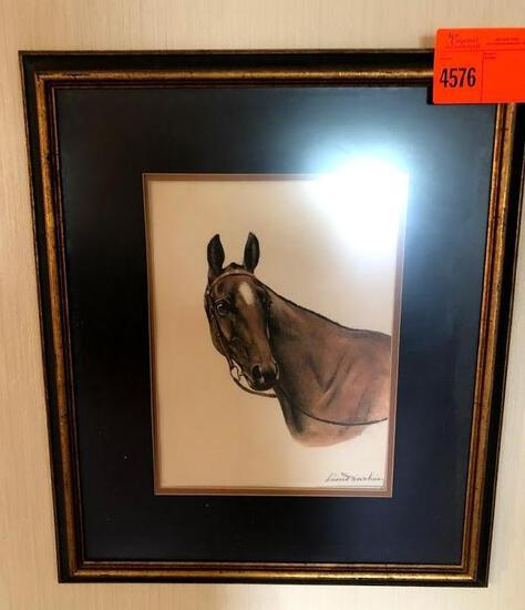 Signed Original French Horse Lithograph 24 x 26 Customer Framed, Museum mounted in acid fee mat