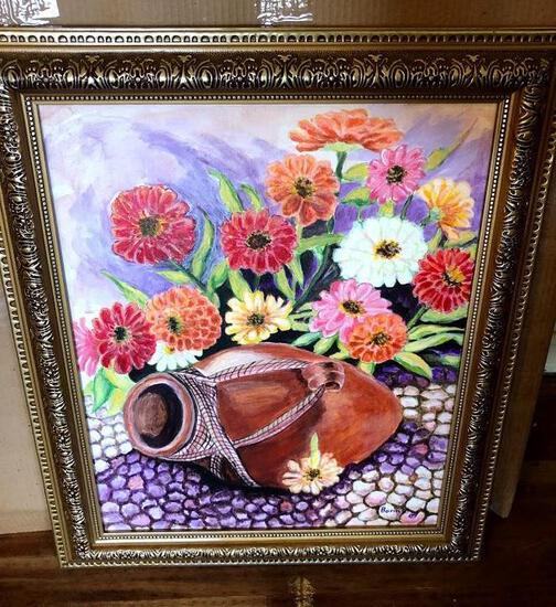 Canvas Painting - Pot with Flowers