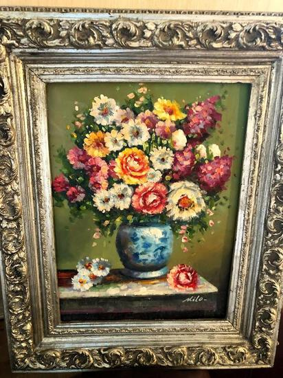 Bouquet of Flowers with Silver Frame